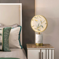 New Chinese LED Table Lamp Copper Marblr Moon-shaped Fan Elegant Home Decor from Singapore best online lighting shop horizon lights