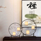 Simple Metal Circle Frame Fabric Shade LED Table Lamp New Chinese Style Home Decor