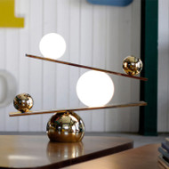 Modern LED Table Lamp Metal Glass Ball Marble Base Balance Creative Living Room Bedroom from Singapore best online lighting shop horizon lights