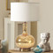 Modern LED Table Lamp Cloth Lampshade Glass Electroplate Body Simple Home Decor from Singapore best online lighting shop horizon lights