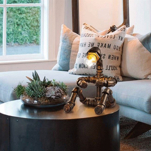 Industrial style LED Table Lamp 2PCS Metal Water Pipe Human Shape Creative Home Bar Decor from Singapore best online lighting shop horizon lights