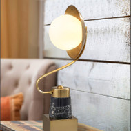 Modern LED Table Lamp Metal Marble Phonograph Shape Bedroom Living Room Decor from Singapore best online lighting shop horizon lights