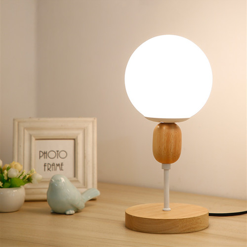 Modern LED Table Lamp Metal Wood Base Glass Ball Shade Simple Bedroom Living Room from Singapore best online lighting shop horizon lights