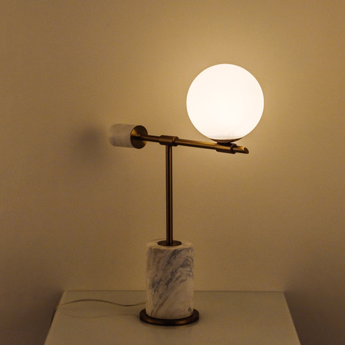 Modern LED Table Lamp Glass Ball Metal Wood Base Simple Bedroom Living Room from Singapore best online lighting shop horizon lights