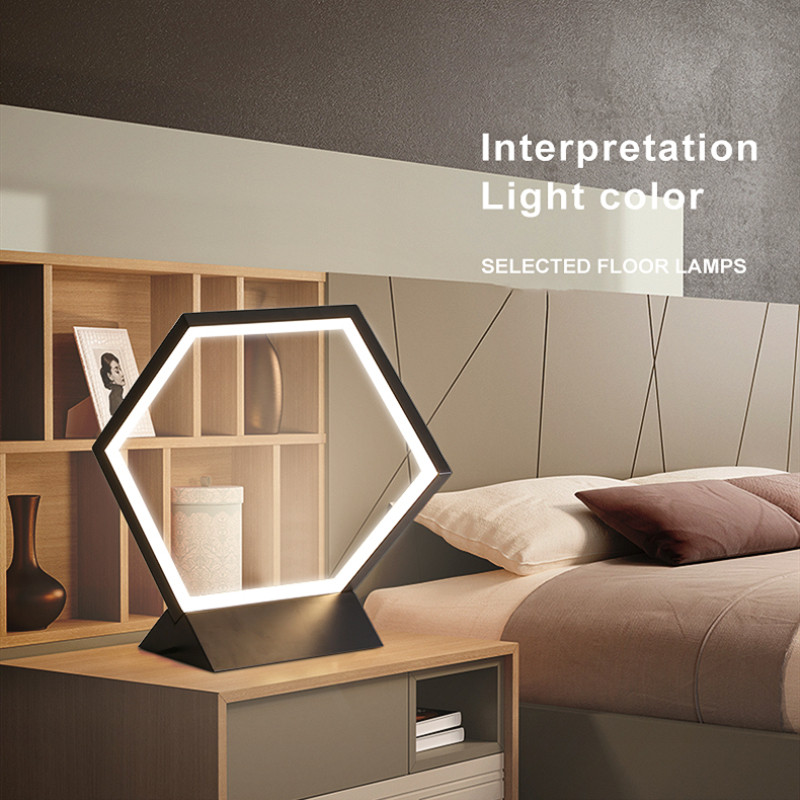 Post-modern LED Table Lamp Metal Acrylic Polygon Simple Bedroom Living Room  Decor