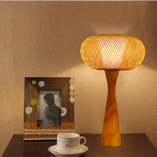 New Chinese style LED Table Lamp Bamboo Lampshade Wood Creative Bedroom Living Room from Singapore best online lighting shop horizon lights