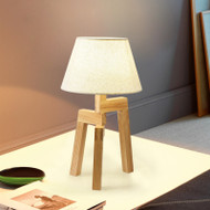 Modern LED Table Lamp Cloth Lampshade Wood Simple Stout Bedroom Living Room from Singapore best online lighting shop horizon lights