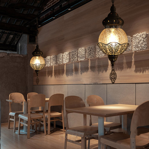 Middle Eastern Style LED Pendant Light Glass Shade Metal Carving Fancy Home Hotel Decor from Singapore best online lighting shop horizon lights