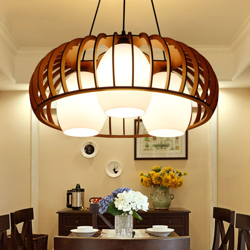 Reunion , Wood Frame Glass Shade Lantern Pendant Light New Chinese and Zen