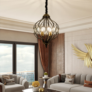 Modern LED Pendant Light Metal Frame K9 Crystal Elegant Bedroom Dining Room from Singapore best online lighting shop horizon lights