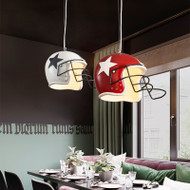 Modern LED Pendant Light Metal Football Helmet Shape Creative Cafe Bar Restarant from Singapore best online lighting shop horizon lights