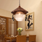 New Chinese LED Pendant Light Glass Shade Wood Eave Decoration Restaurants from Singapore best online lighting shop horizon lights