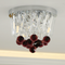 European LED Ceiling Light Round Crystal Decoration Red Elegant Bedroom Corridor from Singapore best online lighting shop horizon lights