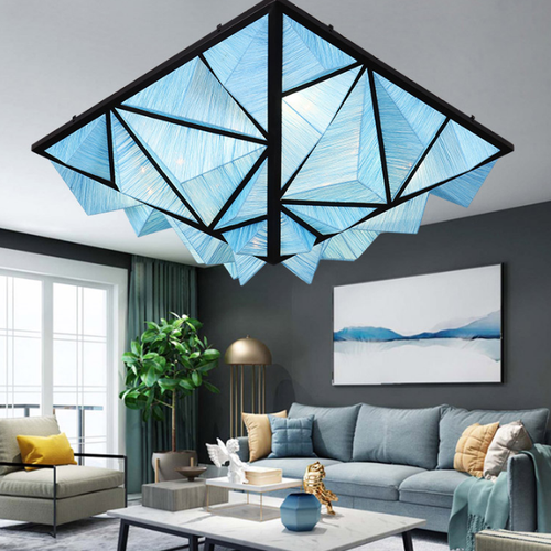 Modern LED Ceiling Light Metal Geometrical Shape Fabric Creative Living Room from Singapore best online lighting shop horizon lights