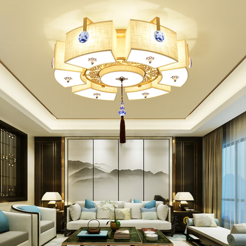 New Chinese LED Ceiling Light Metal Fabric Shade Warmth Living Room from Singapore best online lighting shop horizon lights