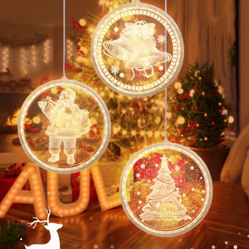 3D Acrylic Christmas Decorations LED Pendant Light with Santa Claus (3 lights0