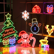 Christmas wonderland Neon Lamp LED lights for Indoor Christmas Party plastic decorations  (party set)