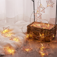 Christmas Gift Star Wireframe string LED fairy lights for Christmas Greetings (basket)