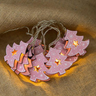 Merry Christmas Tree string LED Fairy Lights with Christmas Blessings (pink tree)