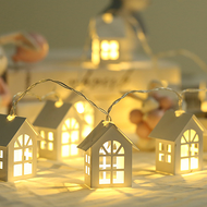 Nordic LED String Fairy Light 8PCS Wood House Shape Warmth Lighting Decorative from Singapore best online lighting shop horizon lights