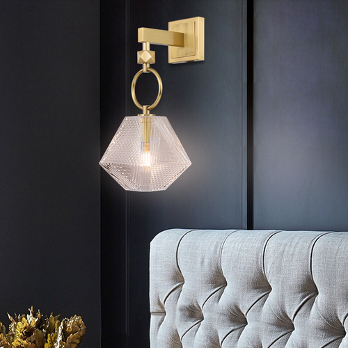 Nordic style LED Wall Light H65 Copper Crystal Diamond Shape Luxurious Bedroom Corride from Singapore best online lighting shop horizon lights