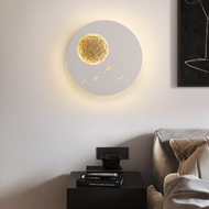 Modern LED Wall Light Metal Round Moonrise Pattern Simple Living Room Bedroom from Singapore best online lighting shop horizon lights