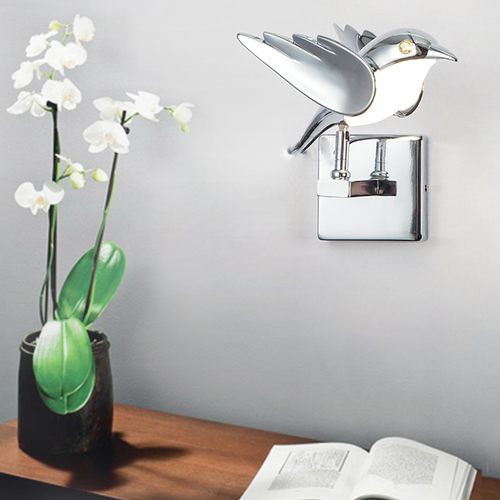 Modern LED Wall Light 2PCS Metal Bird Shape Silver Color Cute Bedroom Corride from Singapore best online lighting shop horizon lights