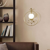 New Chinese LED Wall Light Glass Ball Shade Copper Bird Branch Home Hotel Decor from Singapore best online lighting shop horizon lights