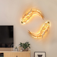 New Chinese LED Wall Light Wood Metal Carp Shape Living Room Corrider Decor from Singapore best online lighting shop horizon lights