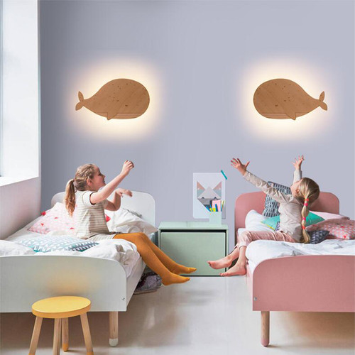 Modern LED Wall Light Wood Metal Whale Shape Unique Calming Bedroom Corrider from Singapore best online lighting shop horizon lights