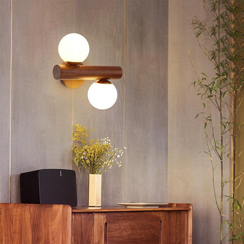 Modern LED Wall Light Glass Ball Shade Wood Rotatable Simple Bedside Corrider from Singapore best online lighting shop horizon lights