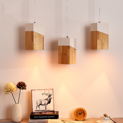 Modern LED Pendant Light Wood Metal Square Shape Dining Room Bedroom Decor from Singapore best online lighting shop horizon lights