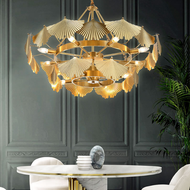 Modern LED Chandelier Light Copper Gingko Leaves Shade Beautiful Living Room Villa from Singapore best online lighting shop horizon lights