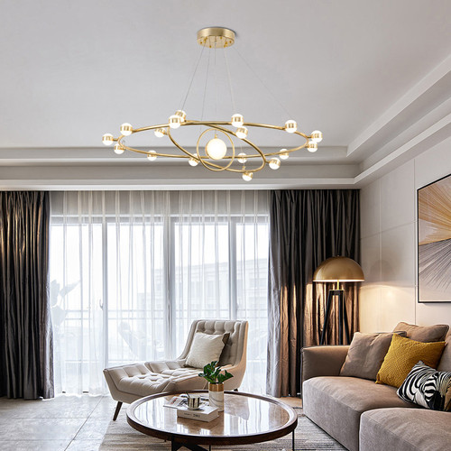 Modern LED Chandelier Light Metal Circular Shape Acrylic Lampshade Living room from Singapore best online lighting shop horizon lights