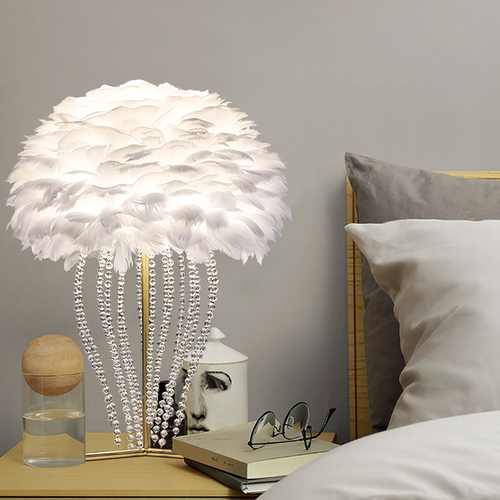 Nordic style LED Table Lamp Crystal Beads Pendant Feather Shade Home Decor from Singapore best online lighting shop horizon lights