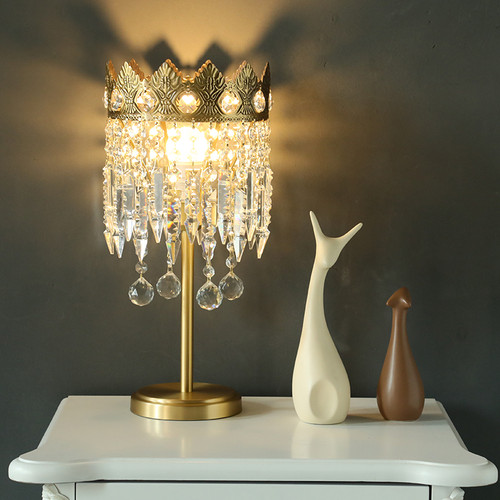 European Style LED Table Lamp Crystal Copper Crown Shape Princess Beautiful Home Decor from Singapore best online lighting shop horizon lights