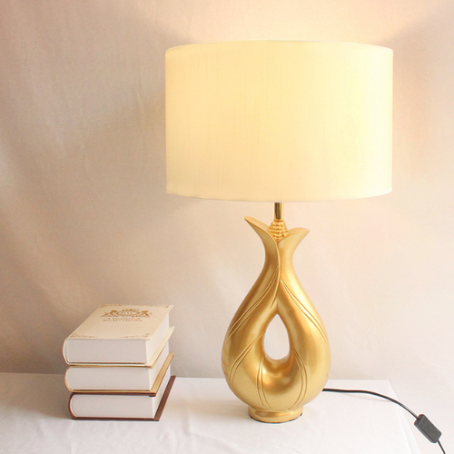 Modern LED Table Lamp Resin Gold Body Cloth Shade Luxurious Living Room Bedside from Singapore best online lighting shop horizon lights