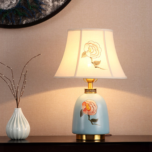 New Chinese LED Table Lamp Cloth Shade Ceramic Copper Elegant Classical Home Decor from Singapore best online lighting shop horizon lights