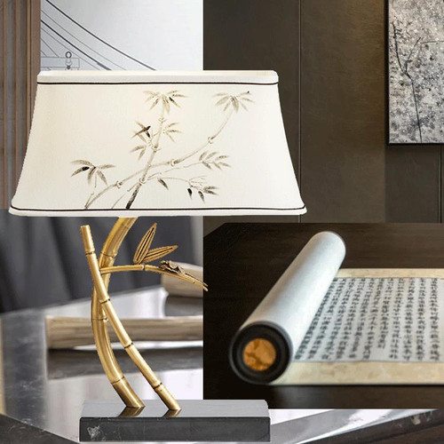 New Chinese Style LED Table Lamp Cloth Bamboo Shade Copper Marble Elegant Home Decor from Singapore best online lighting shop horizon lights