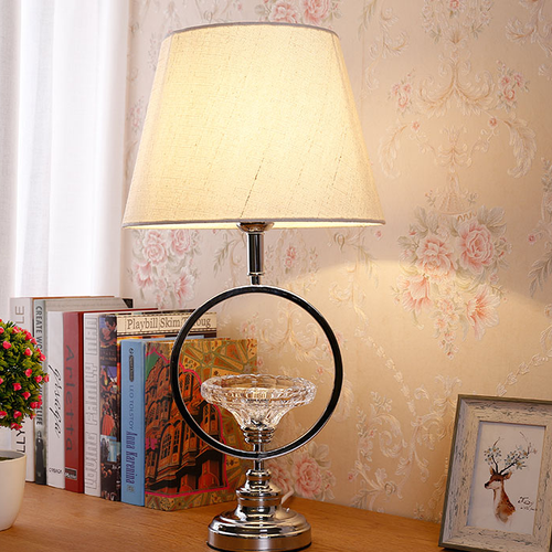 Modern LED Table Lamp Cloth Lampshade Crystal Decoration Alloy Living Room Bedside from Singapore best online lighting shop horizon lights
