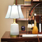 New Chinese LED Table Lamp Linen Shade Ceramic Copper Bedroom Study Decor from Singapore best online lighting shop horizon lights