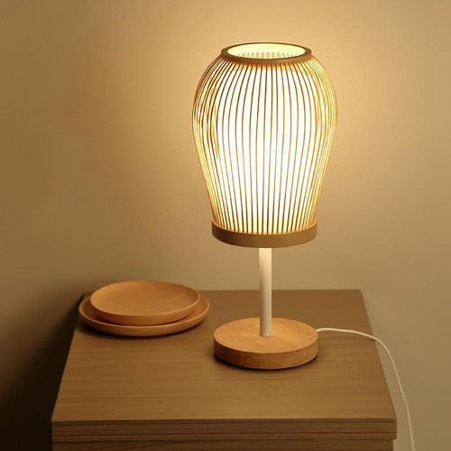 New Chinese LED Table Lamp Bamboo Parchment Latern Shape Retro Home Lighting from Singapore best online lighting shop horizon lights
