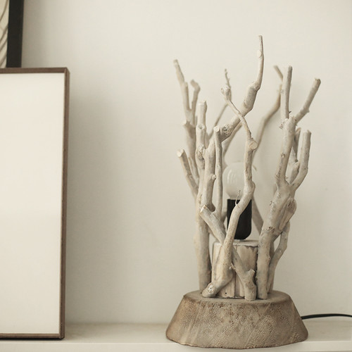 Pastoral Style LED Table Lamp Wood Twig Shade Metal Bedside Living Room Decor from Singapore best online lighting shop horizon lights