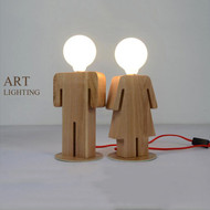 Modern LED Table Lamp Wood Doll Shape Unique Cute Bedside Living Room Decor from Singapore best online lighting shop horizon lights