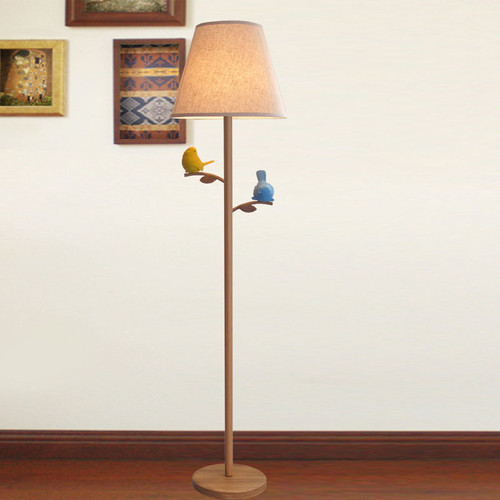 American LED Floor Lamp Linen Shade Resin Birds Decoration Wood Simple Home Decor from Singapore best online lighting shop horizon lights