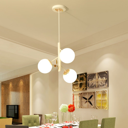 Modern LED Pendant Light Glass Ball Shade White/Black Metal Dining Room from Singapore best online lighting shop horizon lights