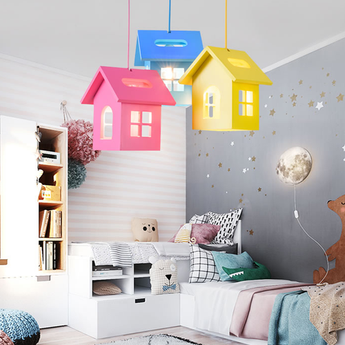 Modern LED Pendant Light Metal Acrylic Creative Colorful House Shape Kindergarten from Singapore best online lighting shop horizon lights