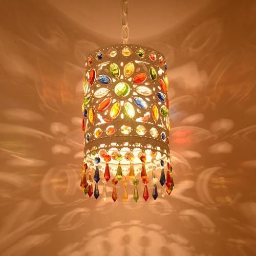 Bohemian Style LED Pendant Light Metal Colorful Crystal Dining Room Bar Decor from Singapore best online lighting shop horizon lights