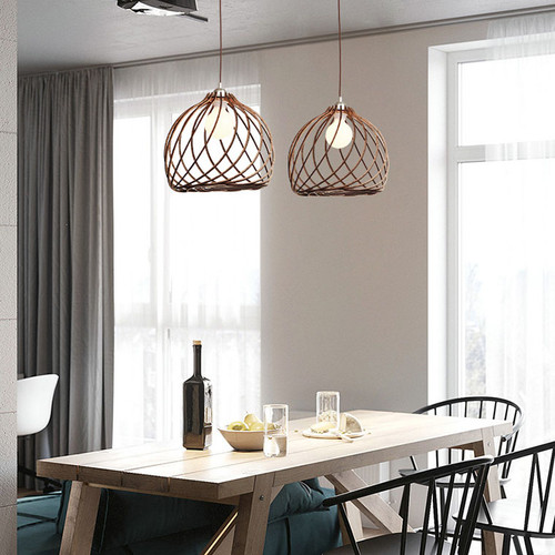 Modern LED Pendant Light Wood Frame Lampshade Unique Artistic Dining Room Coffee Bar from Singapore best online lighting shop horizon lights