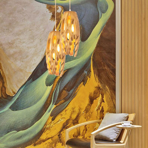 Modern LED Pendant Light Wood Hollow out Lampshade Unique Dining Room Decor from Singapore best online lighting shop horizon lights